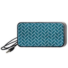 Brick2 White Marble & Teal Leather Portable Speaker by trendistuff