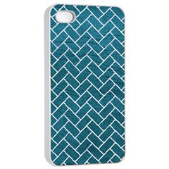 Brick2 White Marble & Teal Leather Apple Iphone 4/4s Seamless Case (white) by trendistuff