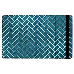 Brick2 White Marble & Teal Leather Apple Ipad 2 Flip Case by trendistuff