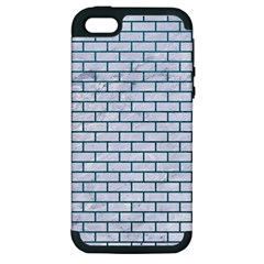 Brick1 White Marble & Teal Leather (r) Apple Iphone 5 Hardshell Case (pc+silicone) by trendistuff