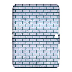 Brick1 White Marble & Teal Leather (r) Samsung Galaxy Tab 4 (10 1 ) Hardshell Case  by trendistuff
