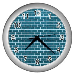 Brick1 White Marble & Teal Leather Wall Clocks (silver)  by trendistuff