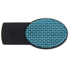 Brick1 White Marble & Teal Leather Usb Flash Drive Oval (2 Gb) by trendistuff