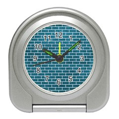 Brick1 White Marble & Teal Leather Travel Alarm Clocks by trendistuff
