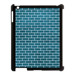 Brick1 White Marble & Teal Leather Apple Ipad 3/4 Case (black) by trendistuff