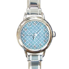 Woven2 White Marble & Teal Brushed Metal (r) Round Italian Charm Watch