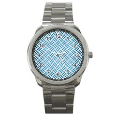 Woven2 White Marble & Teal Brushed Metal (r) Sport Metal Watch by trendistuff