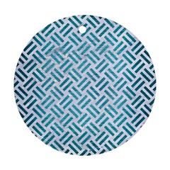 Woven2 White Marble & Teal Brushed Metal (r) Round Ornament (two Sides) by trendistuff