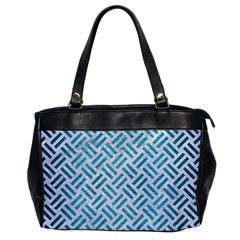 Woven2 White Marble & Teal Brushed Metal (r) Office Handbags by trendistuff
