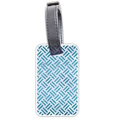 Woven2 White Marble & Teal Brushed Metal (r) Luggage Tags (one Side)  by trendistuff