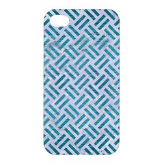 Woven2 White Marble & Teal Brushed Metal (r) Apple Iphone 4/4s Hardshell Case by trendistuff
