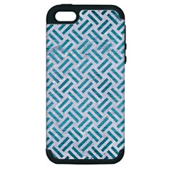Woven2 White Marble & Teal Brushed Metal (r) Apple Iphone 5 Hardshell Case (pc+silicone) by trendistuff
