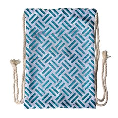 Woven2 White Marble & Teal Brushed Metal (r) Drawstring Bag (large)