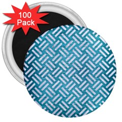 Woven2 White Marble & Teal Brushed Metal 3  Magnets (100 Pack) by trendistuff