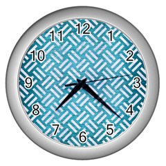 Woven2 White Marble & Teal Brushed Metal Wall Clocks (silver)  by trendistuff