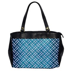 Woven2 White Marble & Teal Brushed Metal Office Handbags by trendistuff