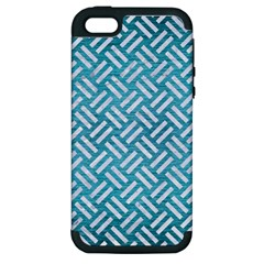 Woven2 White Marble & Teal Brushed Metal Apple Iphone 5 Hardshell Case (pc+silicone) by trendistuff