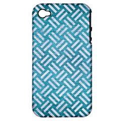 Woven2 White Marble & Teal Brushed Metal Apple Iphone 4/4s Hardshell Case (pc+silicone) by trendistuff