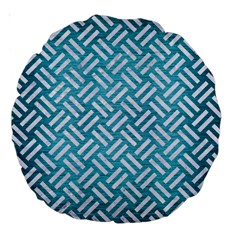 Woven2 White Marble & Teal Brushed Metal Large 18  Premium Round Cushions by trendistuff