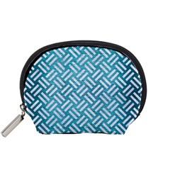 Woven2 White Marble & Teal Brushed Metal Accessory Pouches (small)  by trendistuff