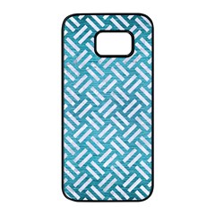 Woven2 White Marble & Teal Brushed Metal Samsung Galaxy S7 Edge Black Seamless Case by trendistuff