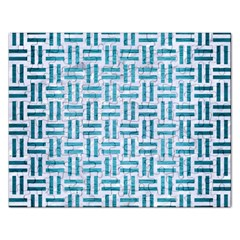 Woven1 White Marble & Teal Brushed Metal (r) Rectangular Jigsaw Puzzl by trendistuff