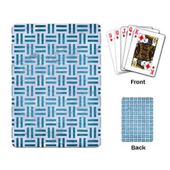 Woven1 White Marble & Teal Brushed Metal (r) Playing Card by trendistuff