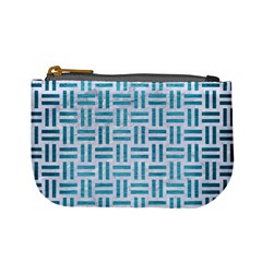 Woven1 White Marble & Teal Brushed Metal (r) Mini Coin Purses