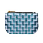 WOVEN1 WHITE MARBLE & TEAL BRUSHED METAL (R) Mini Coin Purses Front