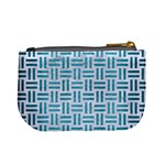 WOVEN1 WHITE MARBLE & TEAL BRUSHED METAL (R) Mini Coin Purses Back