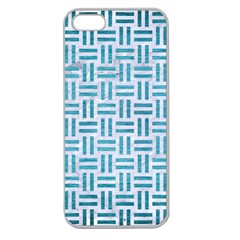 Woven1 White Marble & Teal Brushed Metal (r) Apple Seamless Iphone 5 Case (clear) by trendistuff