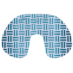 Woven1 White Marble & Teal Brushed Metal (r) Travel Neck Pillows by trendistuff
