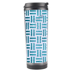 Woven1 White Marble & Teal Brushed Metal (r) Travel Tumbler by trendistuff
