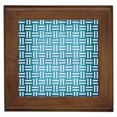 Woven1 White Marble & Teal Brushed Metal Framed Tiles by trendistuff