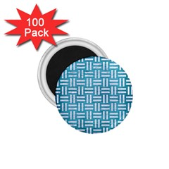 Woven1 White Marble & Teal Brushed Metal 1 75  Magnets (100 Pack)  by trendistuff
