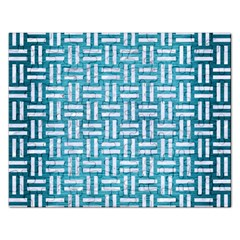 Woven1 White Marble & Teal Brushed Metal Rectangular Jigsaw Puzzl by trendistuff