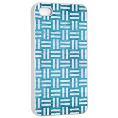 Woven1 White Marble & Teal Brushed Metal Apple Iphone 4/4s Seamless Case (white) by trendistuff