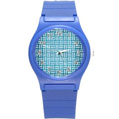 Woven1 White Marble & Teal Brushed Metal Round Plastic Sport Watch (s) by trendistuff