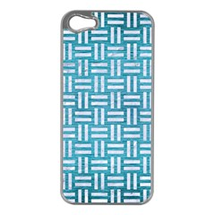 Woven1 White Marble & Teal Brushed Metal Apple Iphone 5 Case (silver) by trendistuff