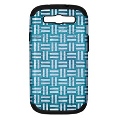 Woven1 White Marble & Teal Brushed Metal Samsung Galaxy S Iii Hardshell Case (pc+silicone)