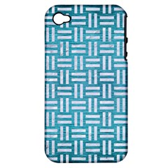Woven1 White Marble & Teal Brushed Metal Apple Iphone 4/4s Hardshell Case (pc+silicone) by trendistuff