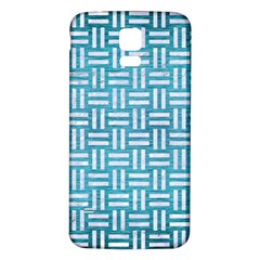 Woven1 White Marble & Teal Brushed Metal Samsung Galaxy S5 Back Case (white) by trendistuff