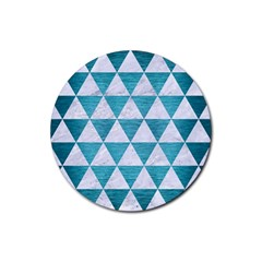 Triangle3 White Marble & Teal Brushed Metal Rubber Round Coaster (4 Pack)  by trendistuff