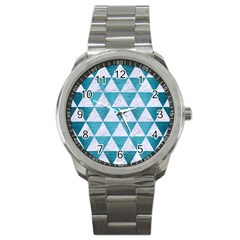 Triangle3 White Marble & Teal Brushed Metal Sport Metal Watch by trendistuff