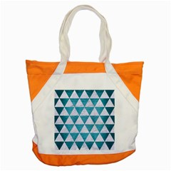 Triangle3 White Marble & Teal Brushed Metal Accent Tote Bag by trendistuff