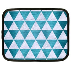 Triangle3 White Marble & Teal Brushed Metal Netbook Case (xxl)  by trendistuff