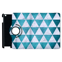Triangle3 White Marble & Teal Brushed Metal Apple Ipad 3/4 Flip 360 Case by trendistuff