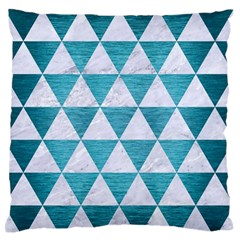 Triangle3 White Marble & Teal Brushed Metal Large Flano Cushion Case (one Side) by trendistuff