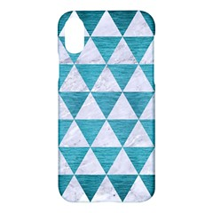 Triangle3 White Marble & Teal Brushed Metal Apple Iphone X Hardshell Case