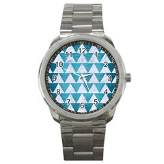 Triangle2 White Marble & Teal Brushed Metal Sport Metal Watch by trendistuff